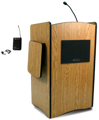 Wireless Multimedia Presentation Podium with Lapel Microphone Transmitter