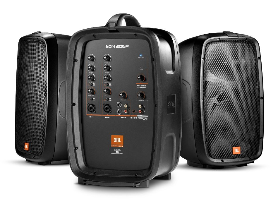 """JBL EON206P 6-Channel Portable PA System with (2) 6.5"""" Speakers and Detachable Powered Mixer EON-206P"""