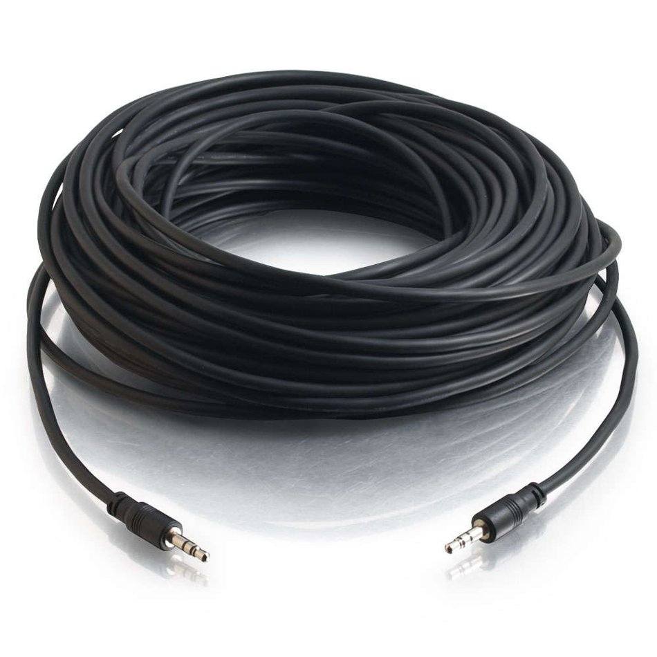 """75 ft 1/8"""" Male to Male Stereo Audio Cable with Low-Profile Connectors"""