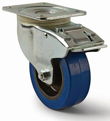 "Rose Brand CAST0064  4"" Soft Rubber Blue Swivel Caster with Total Lock Brake CAST0064"