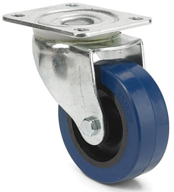 "4"" Soft Rubber Blue Swivel Caster without Brake"