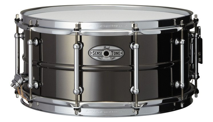 "6.5""x14"" SensiTone Beaded Brass Snare Drum in Black"