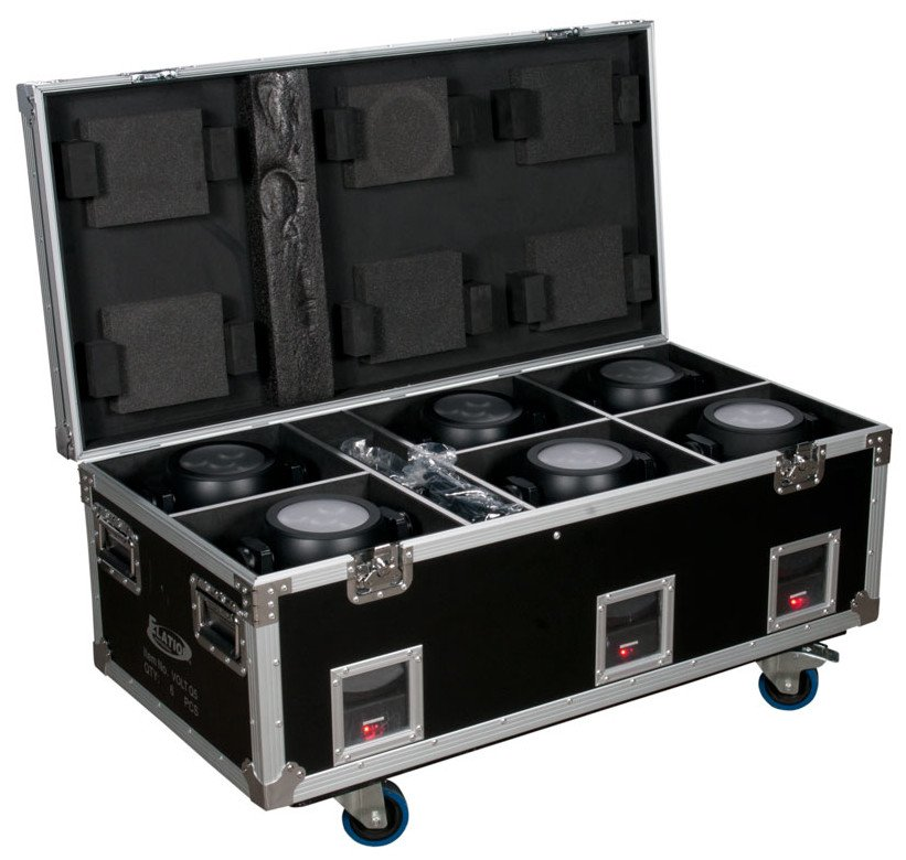 Elation Pro Lighting VOLT Q5E 6 x Volt Q5E 10W RGBW Fixtures with Charging Road Case VOLT-Q5E