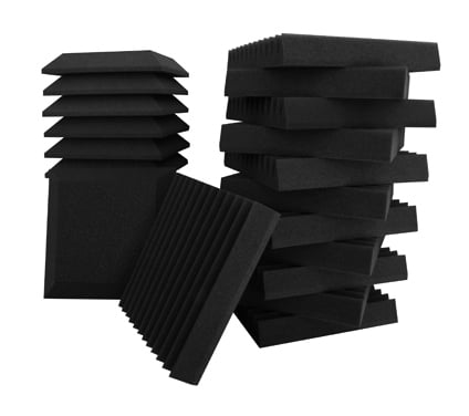 "24-Piece Studio Bundle II Studio Foam - 12 Beveled and 12 Wedge 12""x12""x2"" Wall Panels"