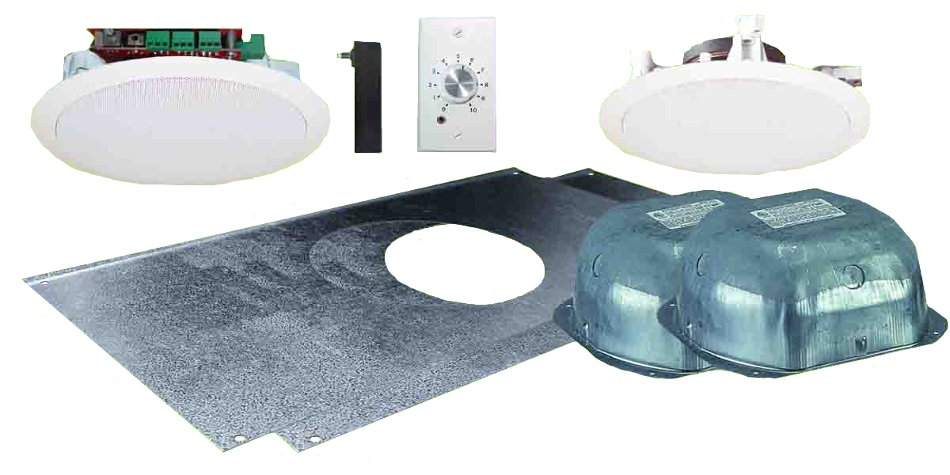 """Two Source Amplified 6.5"""" Drop Ceiling Speaker Package with 2 In-Ceiling Speakers and Stereo Volume Controller"""