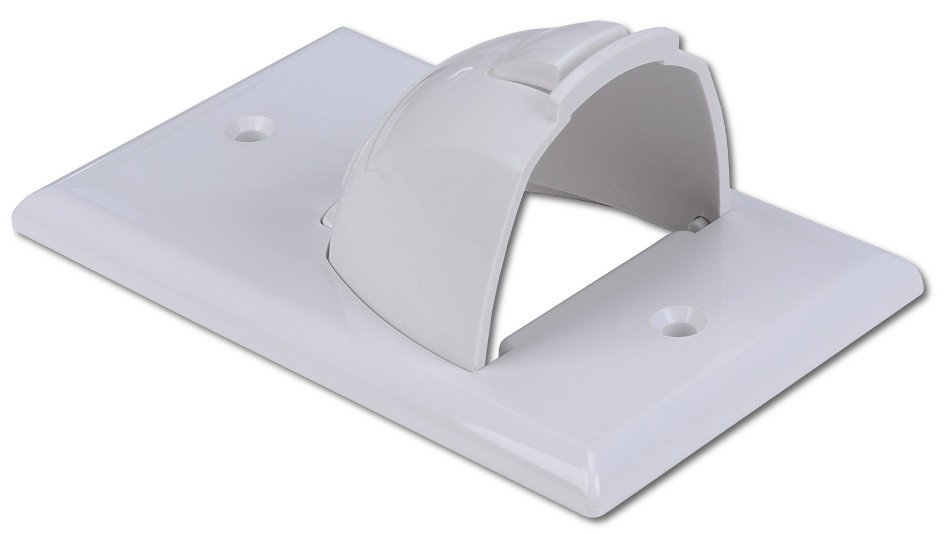Bulk Single Gang Format Wire Plate with Reversible Nose in White