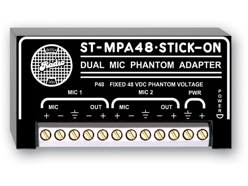 Stick-On Dual Channel Microphone Phantom Power Adapter