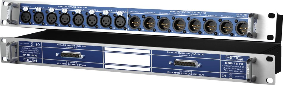 XLR Breakout Box with 8 XLR Inputs to D-Sub and 8 XLR Outputs to D-Sub