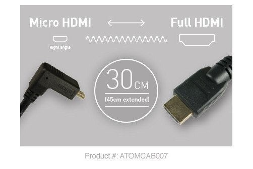 Right Angle Micro HDMI to Full HDMI 30cm Cable