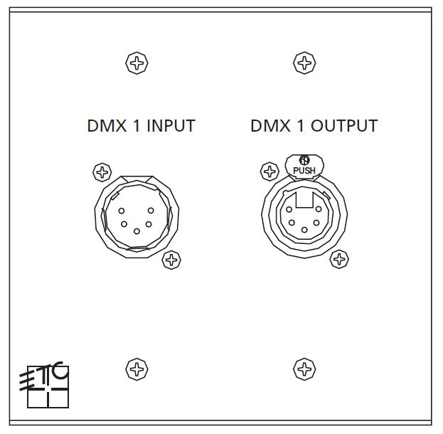 2g Gang ECPB DMX In / Out Plug-in Station Wallplate