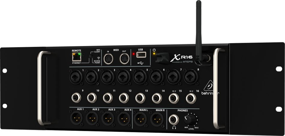 Rackmountable 16-Channel Digital Mixer for iPad/Android Tablets with 8 MIDAS Preamplifiers and Integrated WiFi