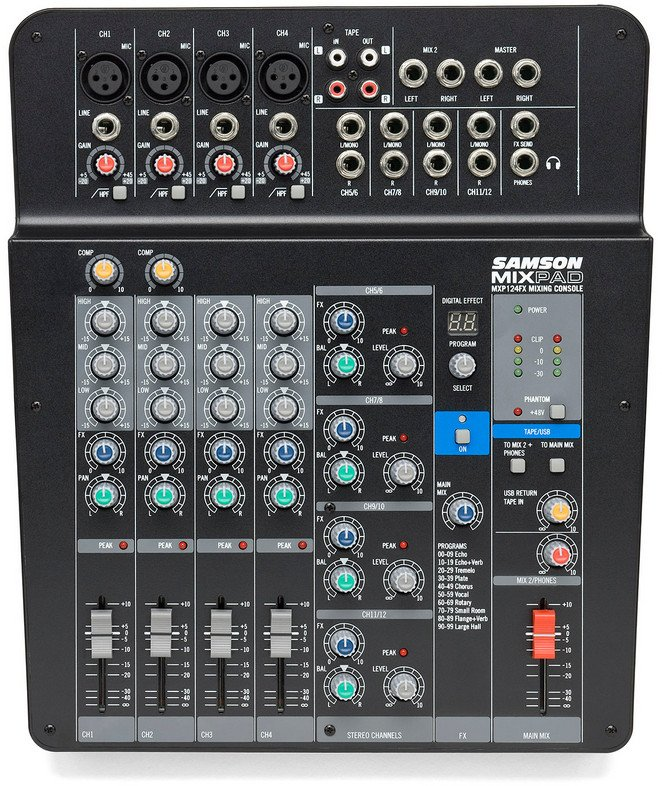 Compact 8 Channel 12 Input Analog Stereo Mixer with Effects and USB