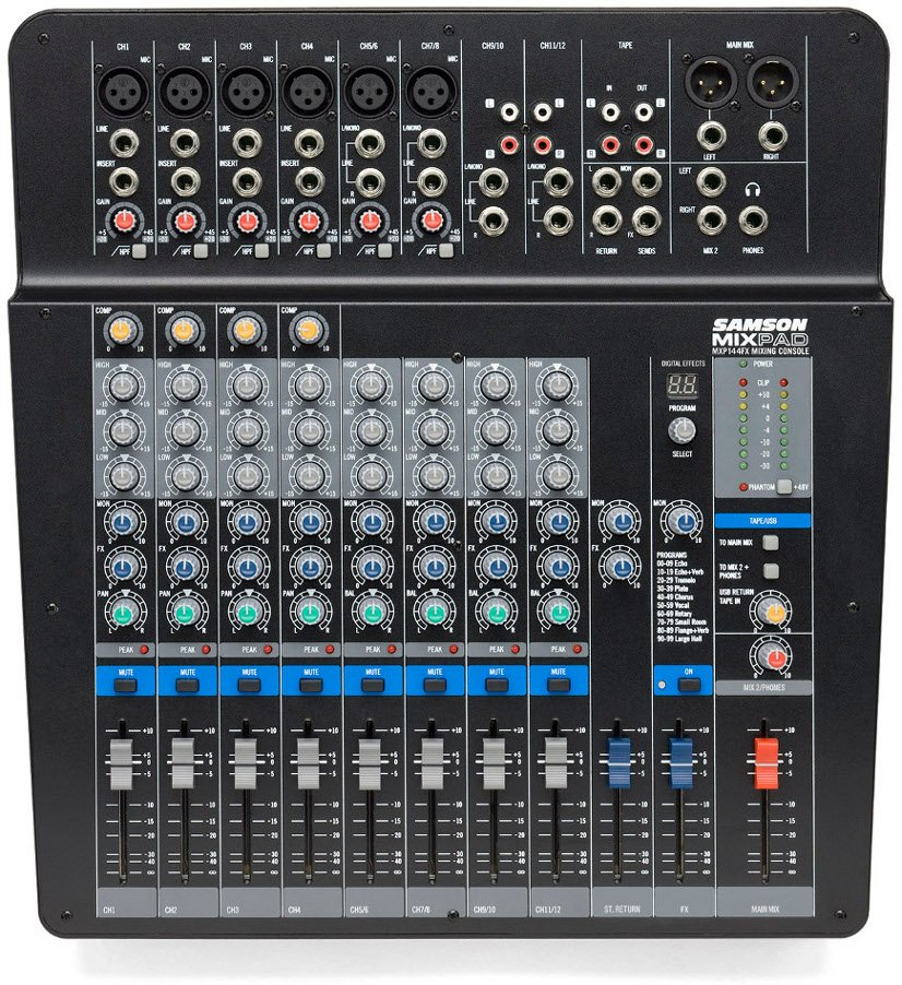 Compact 12 Channel 14 Input Analog Stereo Mixer with Effects and USB