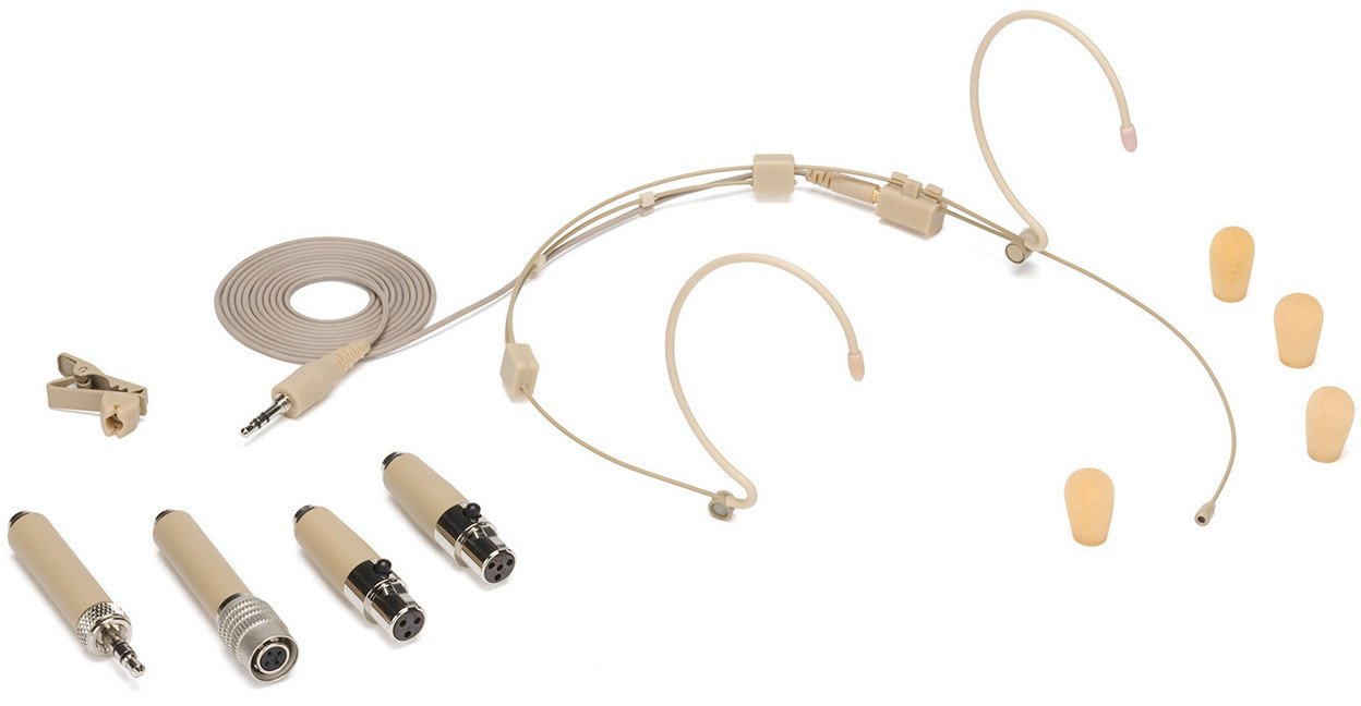 Wraparound Wireless Headset Microphone with Micro-Miniature Condenser Capsule in Beige