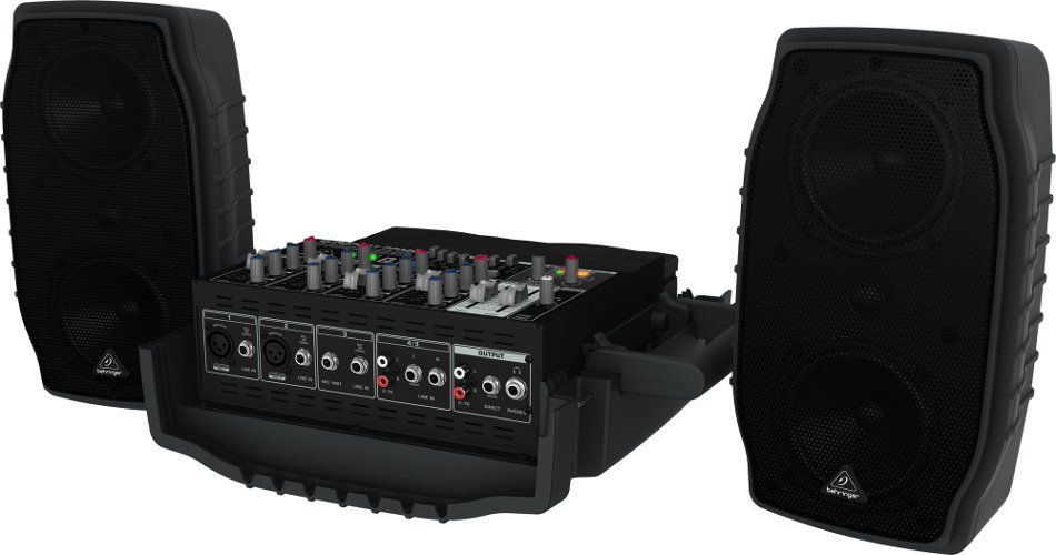 5-Channel 200 Watt Compact Portable PA System with Wireless Expandability and Multi-FX Processor