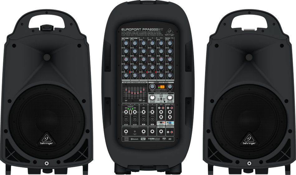 Behringer EUROPORT PPA2000BT 8-Channel 2000 Watt Portable PA System with Bluetooth, Wireless Expandability and Multi-FX Processor PPA2000BT