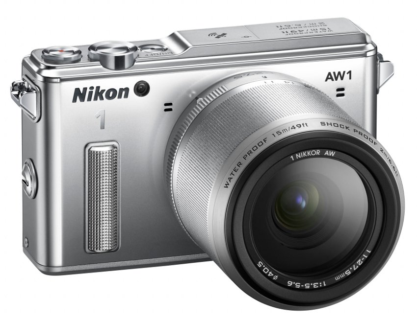 14.2 MP 1 AW1 Camera in Silver with NIKKOR AW 11-27.5mm f/3.5-5.6 Zoom Lens