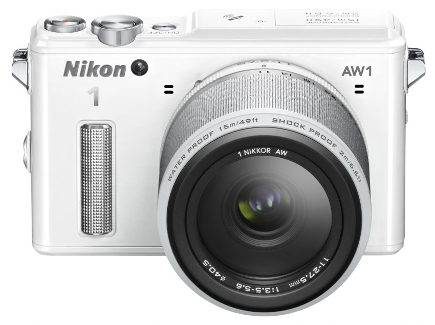 14.2 MP 1 AW1 Camera in White with NIKKOR AW 11-27.5mm f/3.5-5.6 Zoom Lens