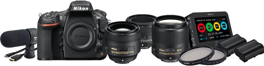 36.3MP D810 DSLR Camera Film Makers Kit with 3x AF-S NIKKOR Lenses, Atomos Ninja 2, 2x Tiffen ND Filters, etc.