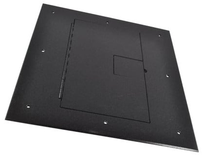Floor Box Cover in Black Sandtex with Hinged Lid, without Carpet Flange