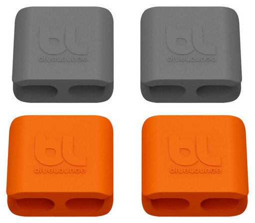 4 Pack of Orange and Gray Medium Size bluelounge CableClips