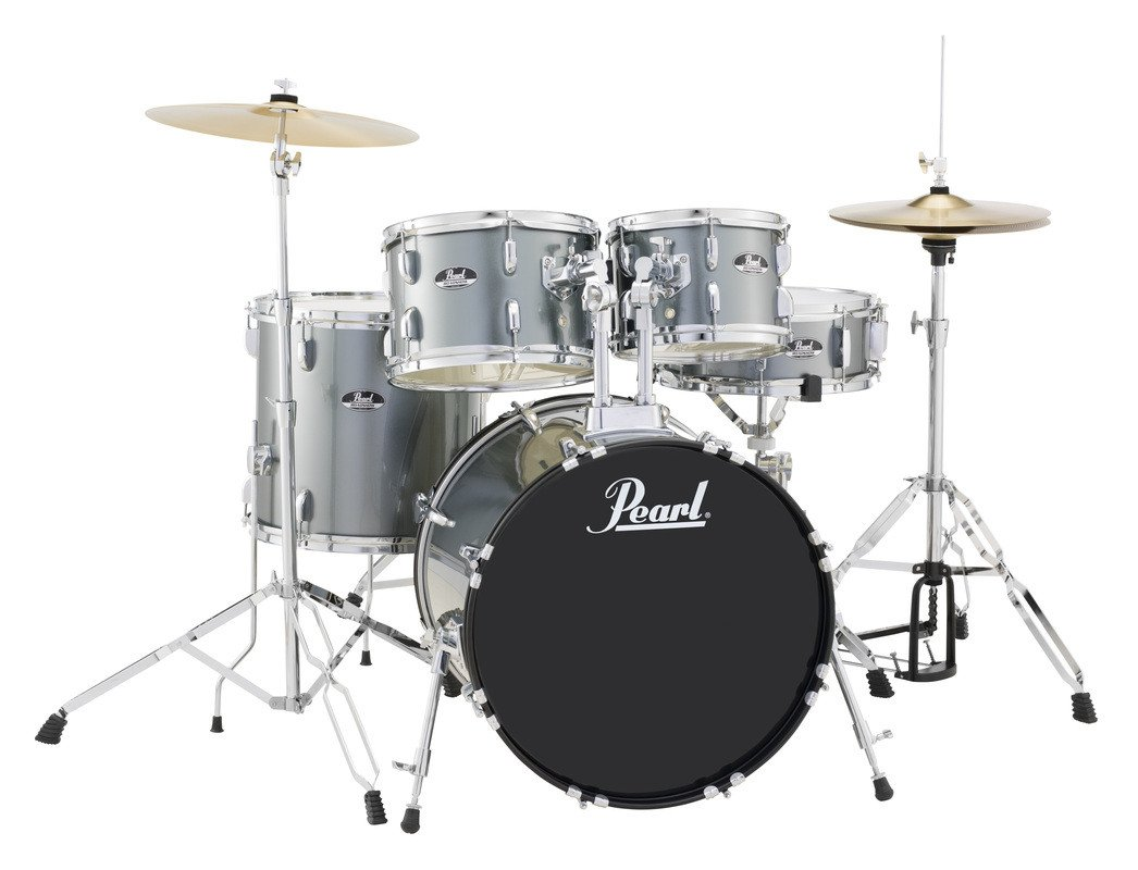 pearl drums rs505c c706 5 piece drum set in charcoal metallic with cymbals and hardware full. Black Bedroom Furniture Sets. Home Design Ideas