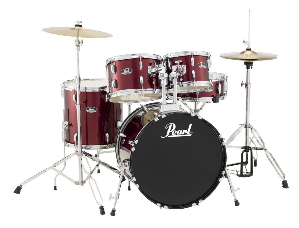 5-Piece Drum Set in Wine Red with Cymbals and Hardware