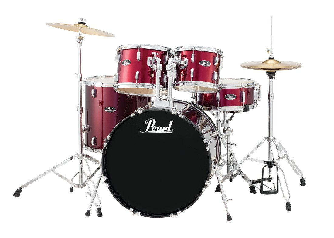 pearl drums rs525sc c91 5 piece drum set in wine red with cymbals and hardware full compass. Black Bedroom Furniture Sets. Home Design Ideas