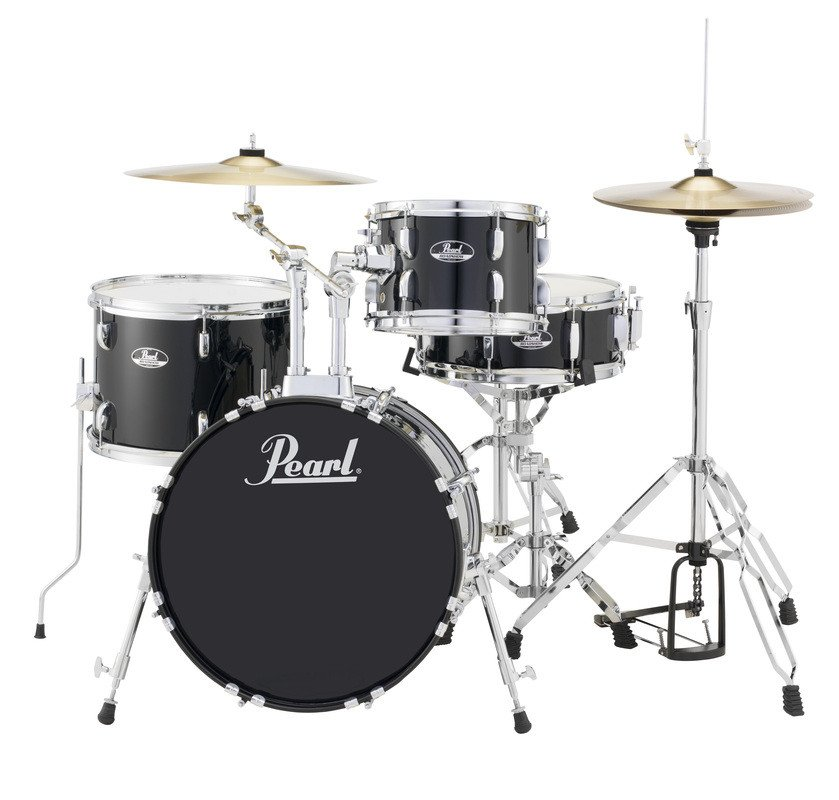 4-Piece Drum Set in Jet Black with Cymbals and Hardware