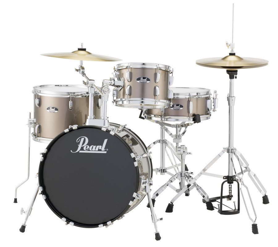 4-Piece Drum Set in Bronze Metallic with Cymbals and Hardware