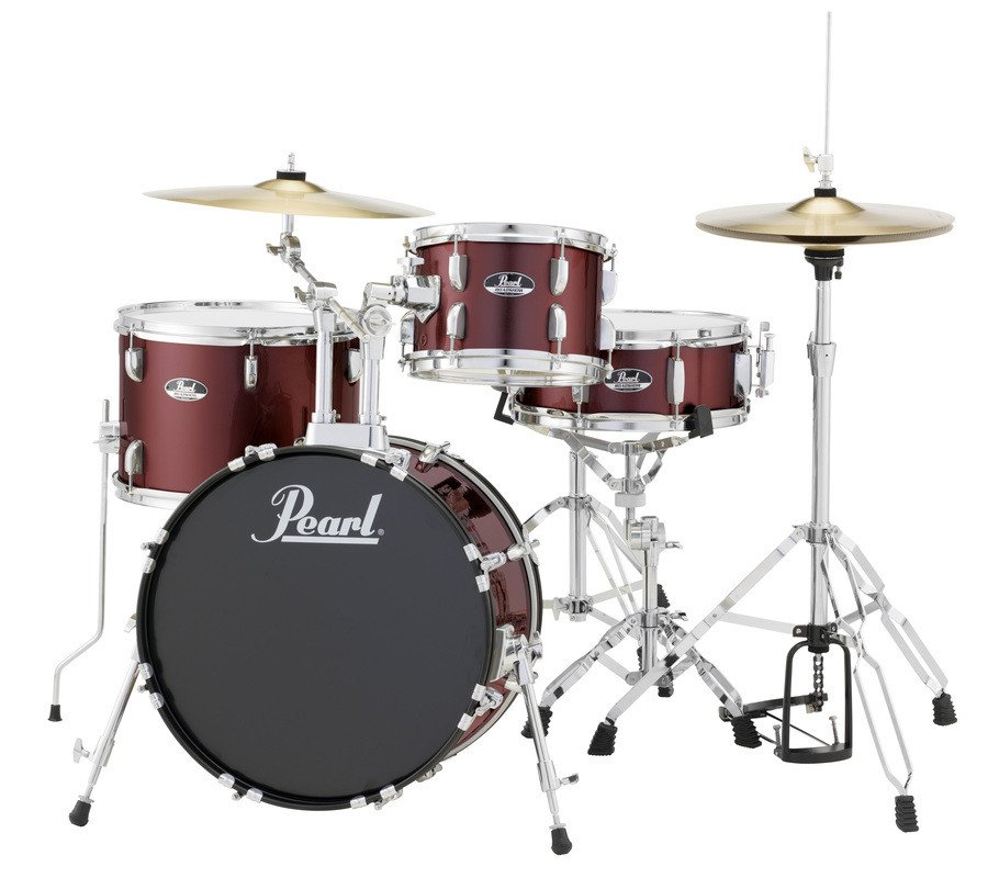 pearl drums rs584c 4 piece drum set in wine red with cymbals and hardware full compass. Black Bedroom Furniture Sets. Home Design Ideas