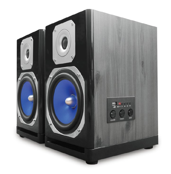 "Pair of 5"" 500 Watt Peak Monitor Speakers with Bluetooth Connectivity and USB Input"