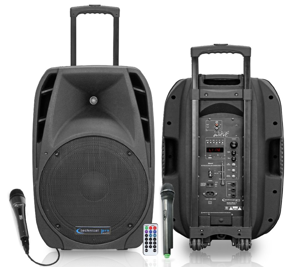 "12"" Portable All-In-One PA System with Two Microphones, Remote Control and Bluetooth Connectivity"