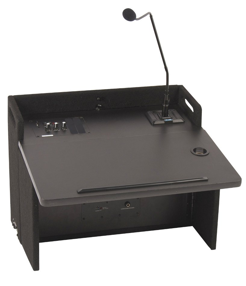 "Acclaim Lectern with Onboard Speaker and 24"" Gooseneck Microphone in Black"