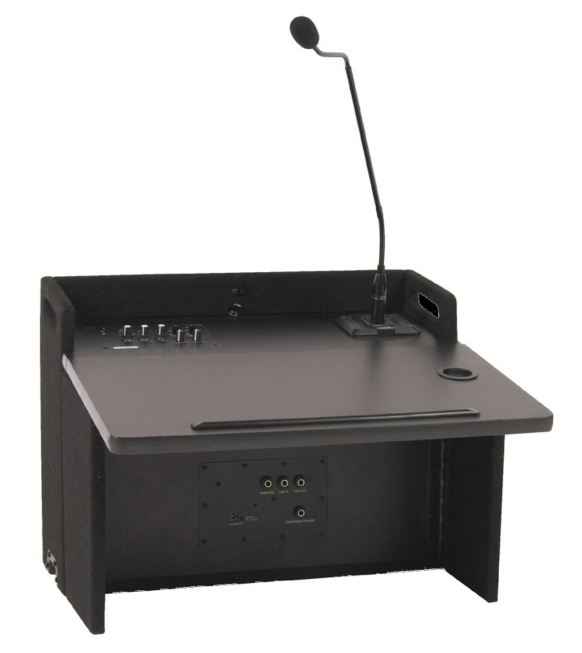 Acclaim Lectern Deluxe Package with Tabletop Lectern, Onboard Speaker, Lectern Base and Choice of Wireless Transmitters