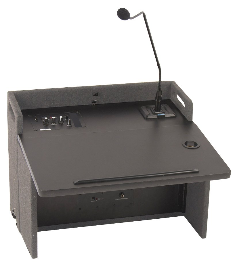 """Acclaim Lectern with (1) UHF Wireless Receiver, Onboard Speaker and 24"""" Gooseneck Microphone in Gray"""