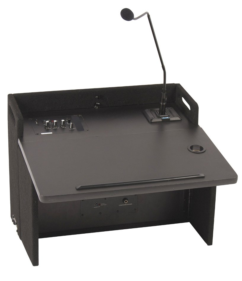 "Acclaim Lectern with (1) UHF Wireless Receiver, Onboard Speaker and 24"" Gooseneck Microphone in Black"