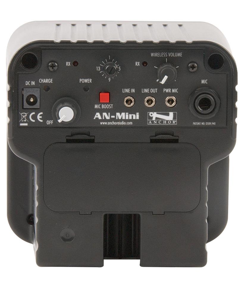 "Mini Portable 30 Watt Sound System with 4.5"" Neodymium Speaker and UHF Wireless Receiver in Black"