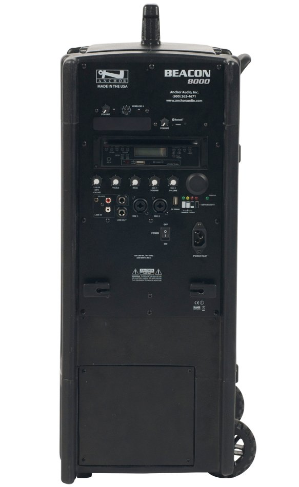 Portable Line Array System with (1) UHF Wireless Reciever, Onboard CD/MP3 Combo Player and Bluetooth Connectivity
