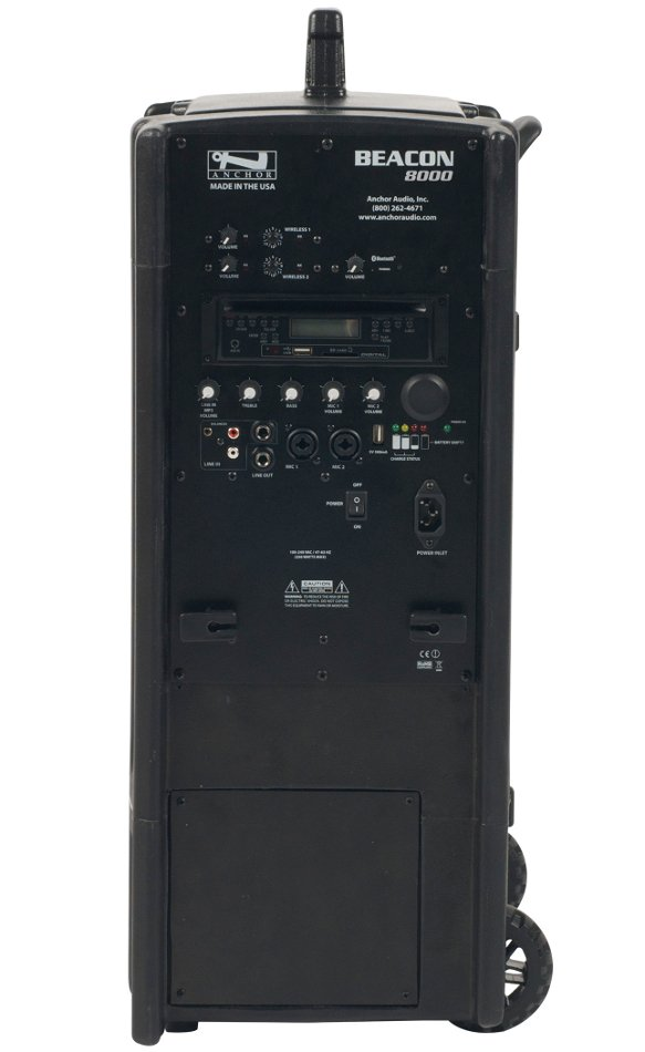 Portable Line Array System with (2) UHF Wireless Receivers, Onboard CD/MP3 Combo Player and Bluetooth Connectivity