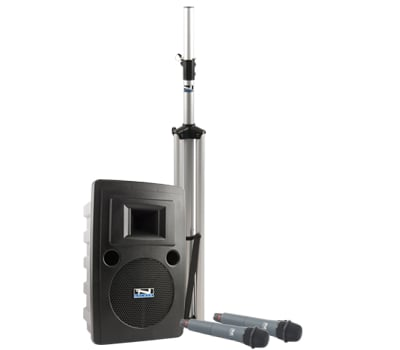 Portable AC Powered PA System with (2) UHF Wireless Receivers, Bodypack Transmitter, Collar Microphone and Choice of 2nd Transmitter/Mic