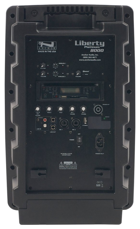 Portable AC Powered PA System with Bluetooth Connectivity, CD/MP3 Combo Player and (2) UHF Wireless Receivers