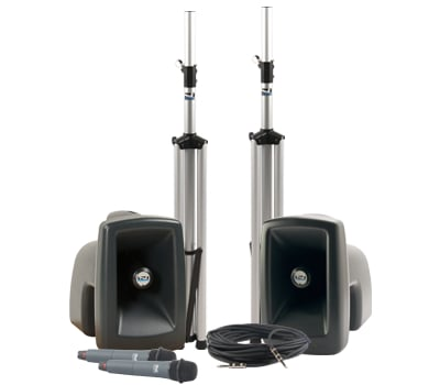 MegaVox Pro Portable PA Package with Companion Speaker, (2) UHF Wireless Receivers, Bodypack Transmitter, Collar Microphone and Choice of 2nd Transmitter/Mic