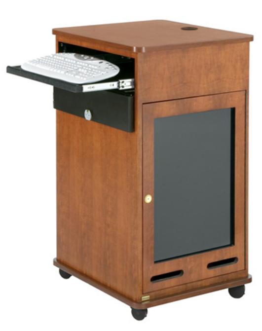 17RU Equipment Rack Cart with Keyboard Shelf in Cherry Veneer Finish