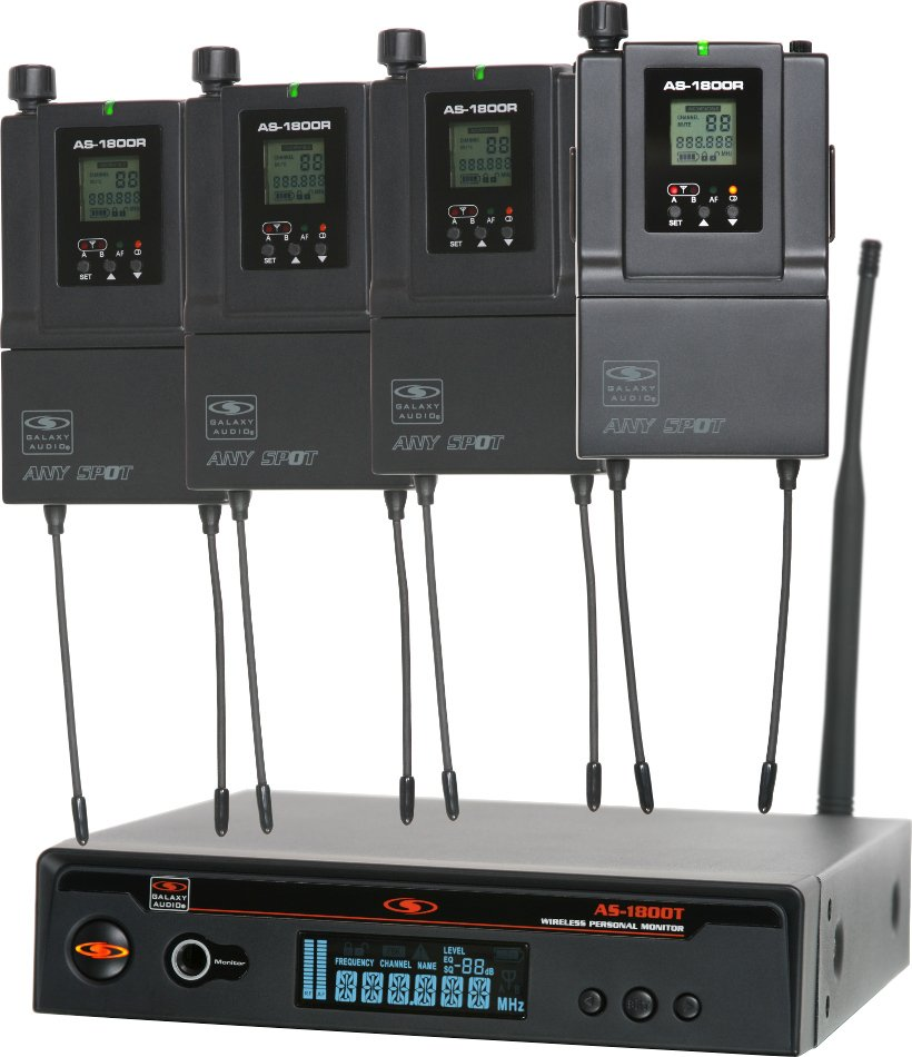 Galaxy Audio AS-1800-4 Band Pack In-Ear Monitor System with (4) Receivers, (4) Sets of Earbuds and (1) Transmitter AS-1800-4