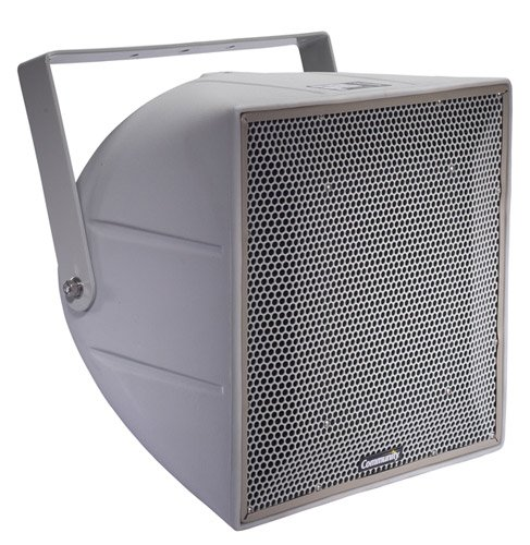 "R Series 12"" 3-Way Weather-Resistant Loudspeaker with 70V/100V Transformer in Light Grey"