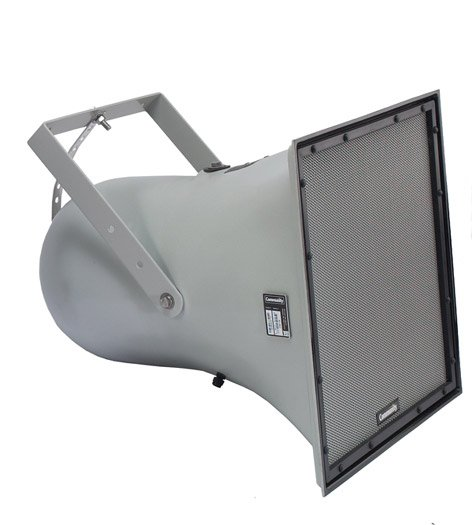"""R Series 12"""" 2-Way Weather-Resistant Horn-Loaded Loudspeaker with 50°x35° Dispersion in Light Grey"""