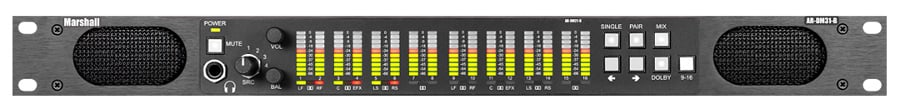 16 Channel Digital Audio Monitor - 1RU Mainframe with Tri-Color LED Bar Graphs