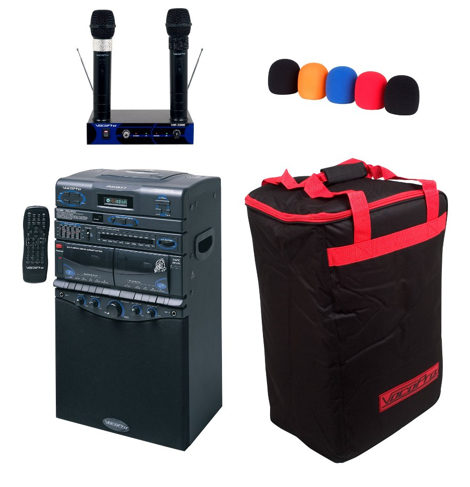 Multi-Format Portable Karaoke System with (2) Wireless Microphones