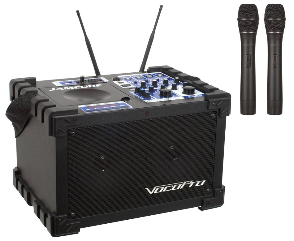 100 Watt All-In-One Compact PA System with CD/MP3 Playback, SD Recorder and (2) Wireless Microphones